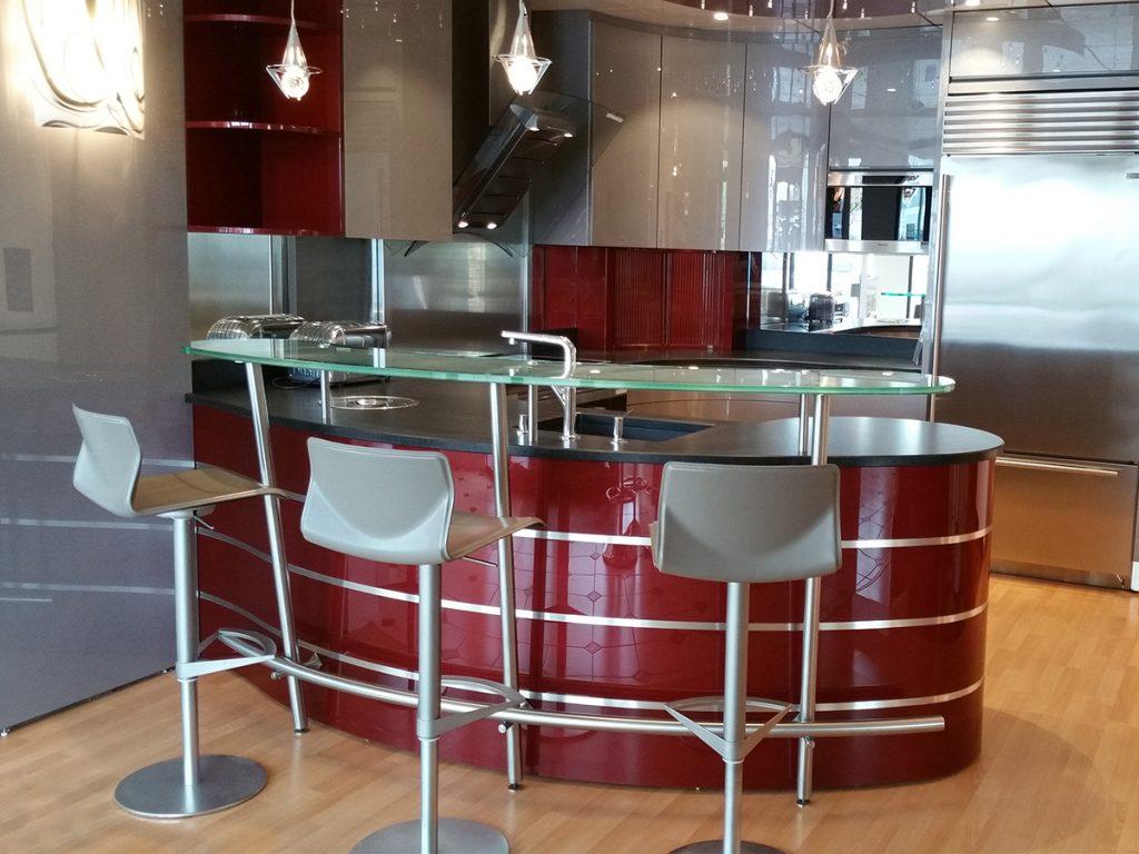 Meuble De Cuisine Arrondi cuisine galaxie rouge arrondie - ateliers courtois